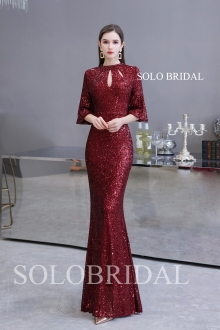 Wine red shiny sequin evening dress Q244531