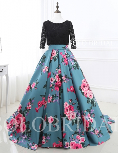 Black lace top blue roses printed satin skirt wedding dress E264031