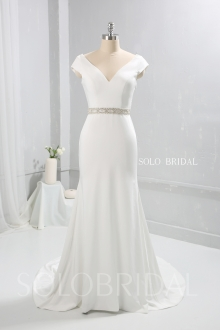New design ivory beaded belt with pearl drapings crepe wedding dress 724A9482