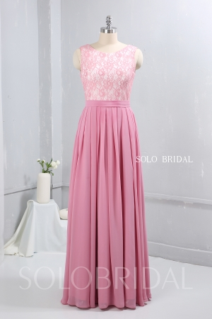 pink chiffon floor length bridemaid dress nicely pleated on waist 724A9180a