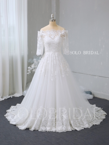 Ivory off shoulder half sleeves a line wedding dress 724A2735