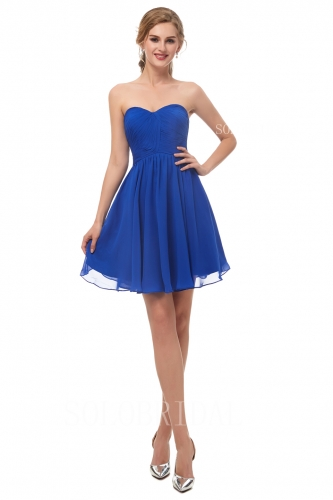 Royal blue short chiffon bridesmaid dress I126731