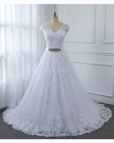 Sweetheat Neckline Covered Sleeved White A Line Wedding Dress 5U7A2769