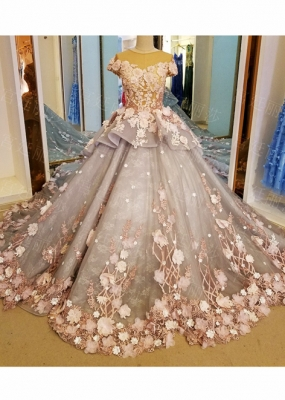 Luxury Flower Lace Ball Gown Wedding Dress