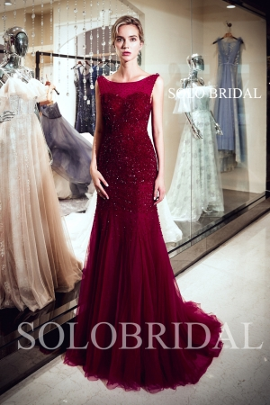 Wine red luxury fit and flare tulle proom dress J947081