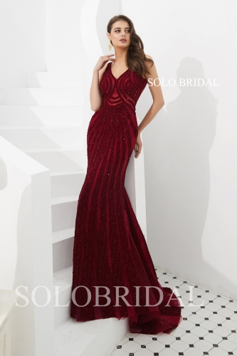 Wine red fit and flare proom dress L703031