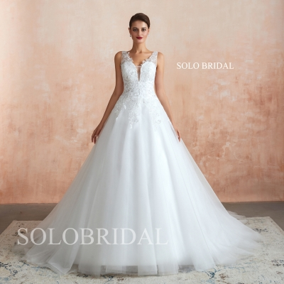 White a line classic wedding dress N303641
