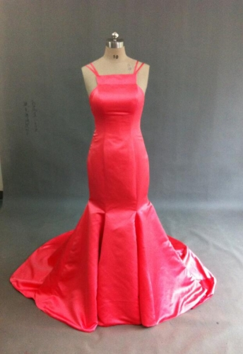 Red Simple Trumpet Chapel Train Hot Sale Cheap Chinese Custom Dresses