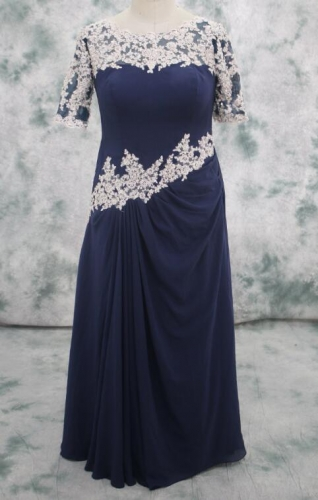 Royal Blue mother of bride dress Chiffon with Champagne color applique lace