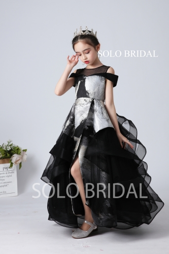 fashion black and silver flower girl dress slt003