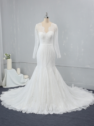 Mermaid Ivory Whole Piece Light Lace Wedding Dress MJ-2320