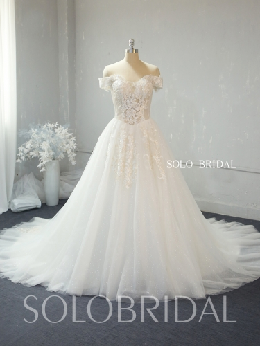 A line ivory shiny wedding dress 724A2372