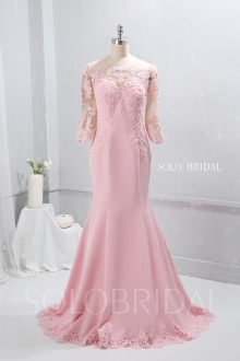Blush Pink Crepe Proom Dress Fit and Flare Dress 724A9678a