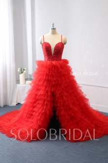 red proom dress opening front tulle ruffle skirt 724A0208