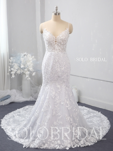 White Fit and Flare leaf lace wedding dress 724A1505