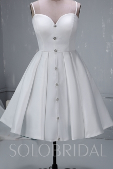 Ivory Short Satin Wedding Dress with diamond buttons 724A3223a