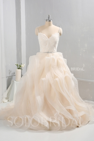 Champagne color tulle ruffle skirt wedding dress diamond belt 724A9535