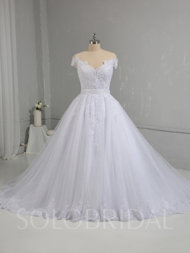 White Ball Gown Sparkling Tulle Skirt Off Shoulder Wedding Dress 724A0007