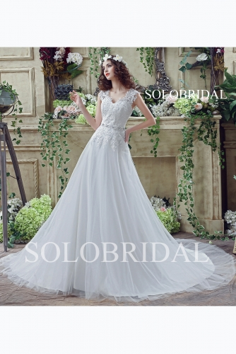 Ivory sweetheart a line lace up back chapel train wedding gown C30272