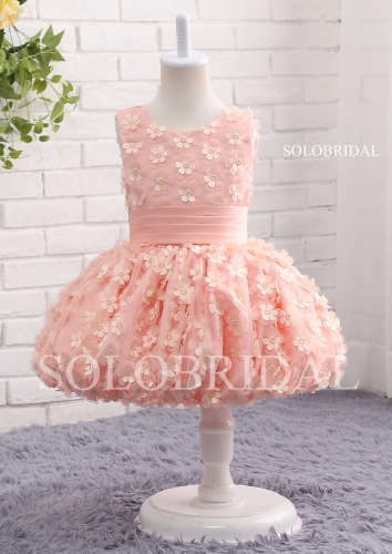 Peach flower lace tutu flower girl dress A17818