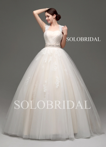Light champagne ball gown lace up strapless sweep train wedding dress B30233