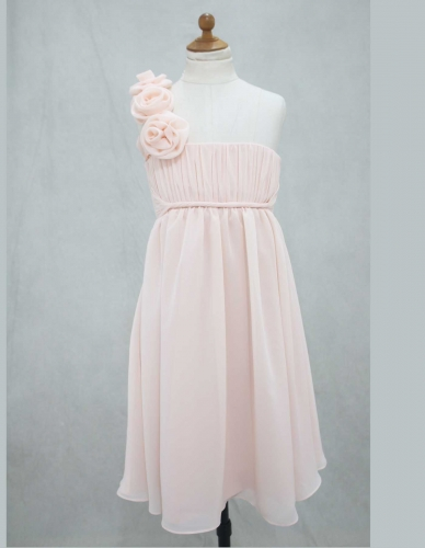 Pink Chiffon Floor Length Flower Girl Dress