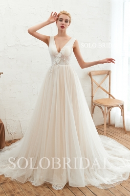 Summmer ivory light tulle wedding dress M283481