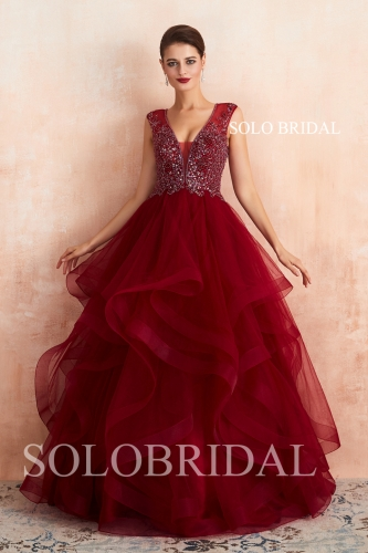 Red tulle ruffle proom dress N593621