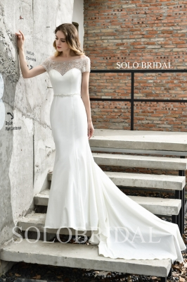 Ivory crepe fit and flare wedding dress P503811