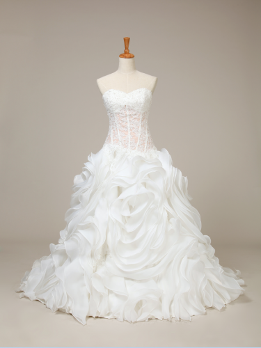 China Custom Wedding Dress Bridal Dresses Manufacturer Wholesale Price A Line Organza Dresses