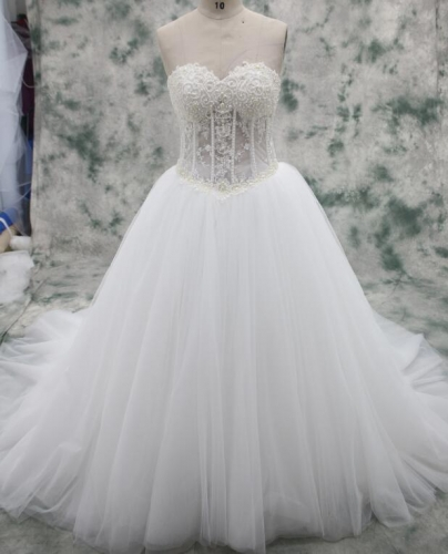 Full Beaded Bodice Ball Gown Fluffy Wedding Dress