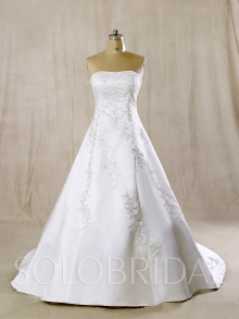 White A Line Silver Embroidery Court Train Dress