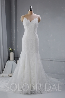 Fitted thin straps wedding dress light ivory 724A3159a