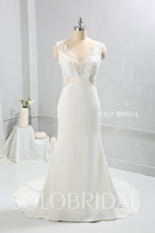 Ivory crepe sheath fitted wedding dress 724A9455