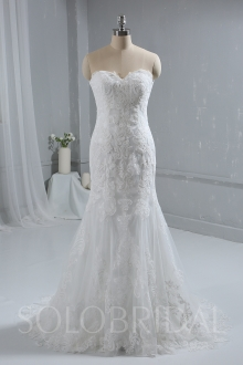 Trendy Lace Wedding Dress Sweetheart Strapless Bridal Gown a00001693