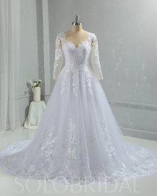 Sweetheart court train flat cotton lace Skin color bodice long sleeves wedding dress 724A6127a