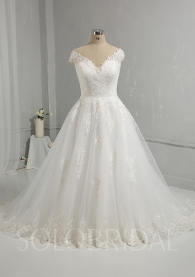 Hot Sale Ivory Ball Gown Wedding Dress Cotton Lace 724A0047