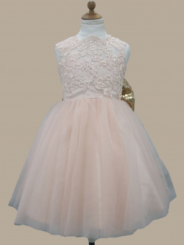 Big Bow Lace Tulle Flower Girl Dress