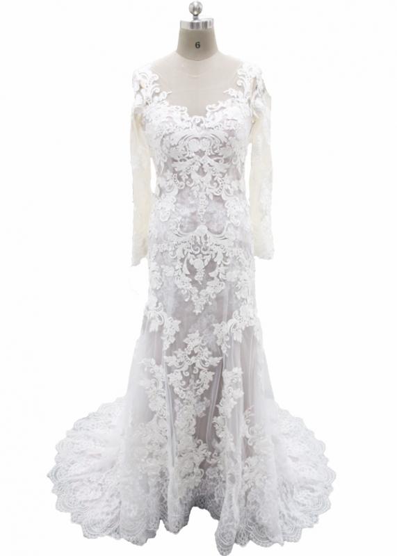 Light Grey Satin overlayed Ivory Lace Wedding Dress|FB-054|Hot Sale ...