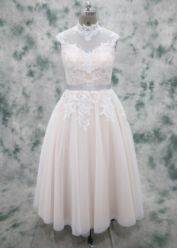 Champagne color satin with Ivory Lace overlayed Tea Length Wedding Dress