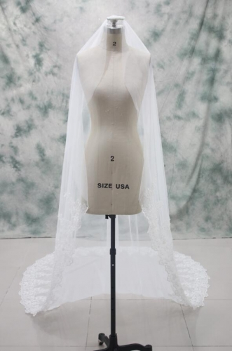 Long Catherdral Ivory White Beaded Lace Veil with Comb