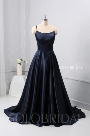 Dark Blue A Line plain Satin Dress Bridesmaid Dress 724A2518