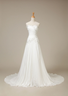 Creased Chiffon Long Train Ivory White Customized size Solo Bridal Gown