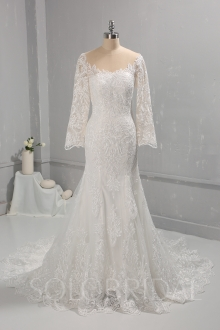 Ivory Mermaid Cotton Lace Wedding Dress Long Sleeves 724A0655