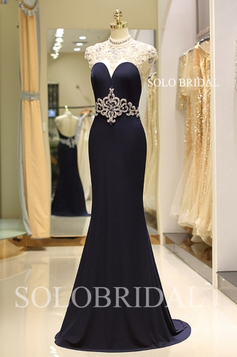 Elegant royal blue fitted proom dress K607241