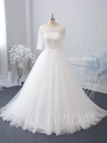 straight bustline half sleeves zipper buttons back sweep train ivory A line wedding dress 724A7402