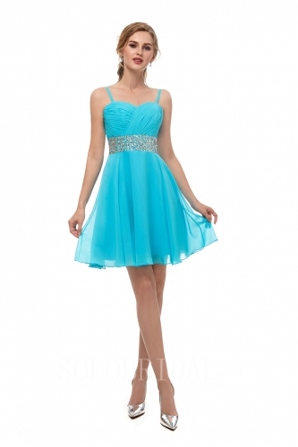 Sky blue short bridesmaid dress beaded belt I156711