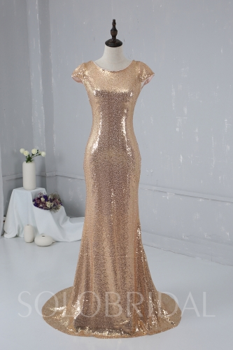 Blush Gold Sequin Bridemaid Dress 724A1881a