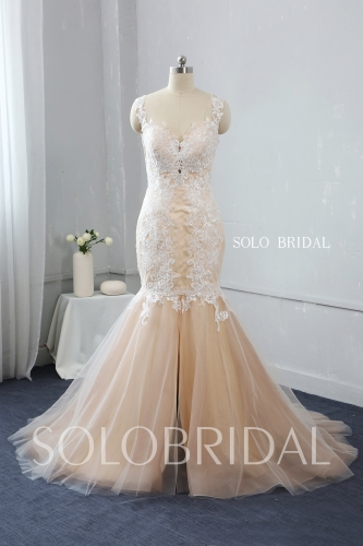 sweetheart deep bustline tulle lace strap mermaid split side zipper wedding dress 724A3454