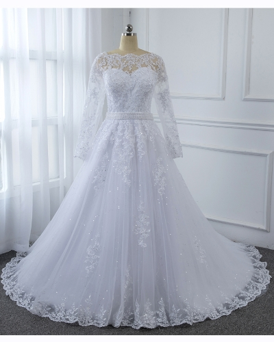 White Long Sleeve Lace Dress Hemlace Skirt Sequin Tulle Wedding Dress